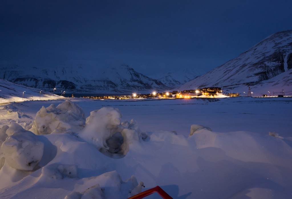 Night view over Longyearbyen - svalbard